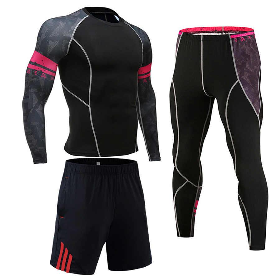 Camisetas de compresión con estampado 3D para hombre musculoso conjunto de mangas largas térmicas bajo la parte superior MMA Rashguard Fitness Base capa de levantamiento de peso