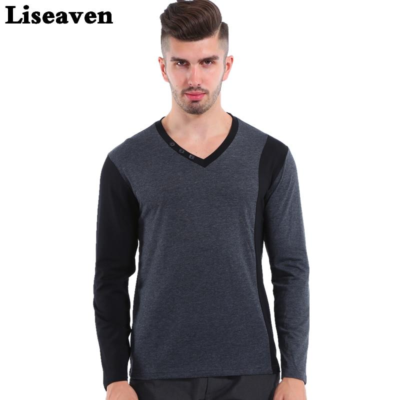 Liseaven 2017 Moda Tricouri casual T-shirt pentru bărbați cu mânecă lungă Tricou bumbac tricotat în formă de tricou Men Plus Size Top Tees