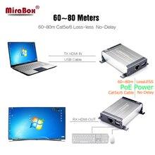 MiraBox 80m HDMI KVM Extender USB Over Cat5/Cat5e/Cat6/Cat6e/UTP LAN RJ45 KVM HDMI USB Extender Lossless Non-Delay For DVR,HD