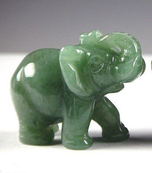 Free Shipping 2 INCH Green Aventurine Jade Stone Craving Lucky Elephant Feng Shui Statue