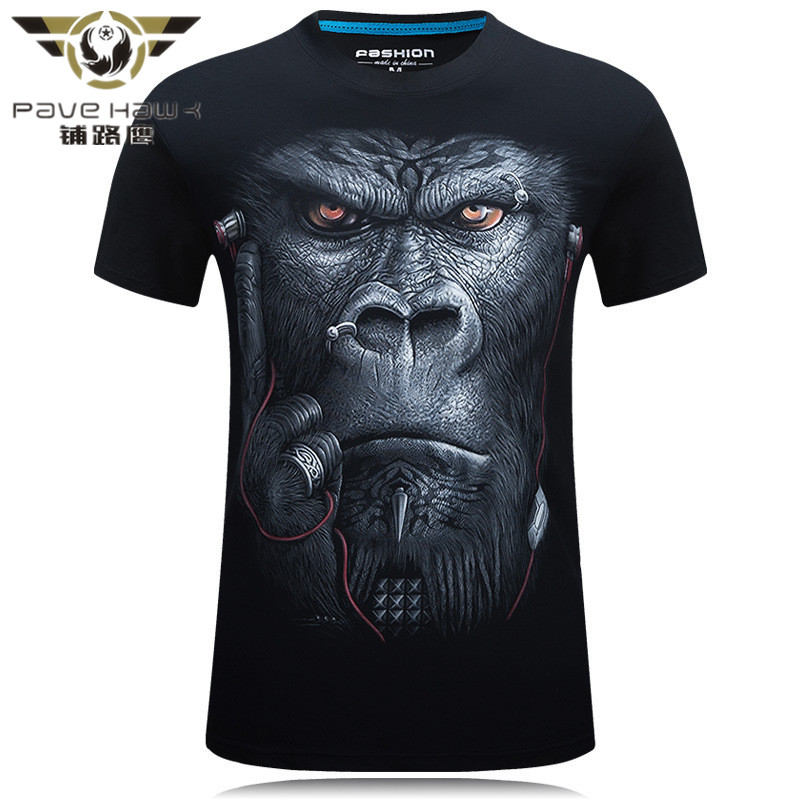 2017  S-6XL 3D Chimpanzee T-shirt Mens Hot 2016 Summer Animal Printed T-shirts Men Cotton Casual Brand T shi