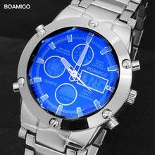 BOAMIGO 최고 브랜드 남자 스포츠 시계 남자의 군사 시계 합금 LED 디지털 시계 남성 방수 손목 시계 Reloj Hombre