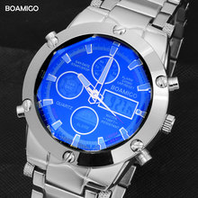BOAMIGO üst marka erkekler spor saatler erkek askeri izle alaşım LED dijital saatler erkek su geçirmez kol saatleri Reloj Hombre