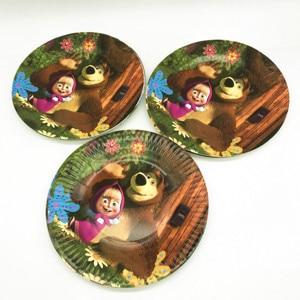 Image 3 - Conjunto de vajilla con tema de Masha y oso para Celebración de bebé, Decoración de cumpleaños para niños, suministros para fiesta y evento de boda, 106 unidades