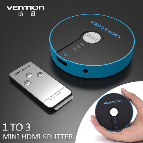 VENTION Mini 3 Port HDMI Switch Switcher HDMI Splitter HDMI Port for PS3 PS4 Xbox 360 PC DV DVD HDTV 1080P 3 Input to 1 Output  3 port 1080p video hdmi switch switcher splitter for hdtv ps3 dvd ir remote un2f 100% new high quality