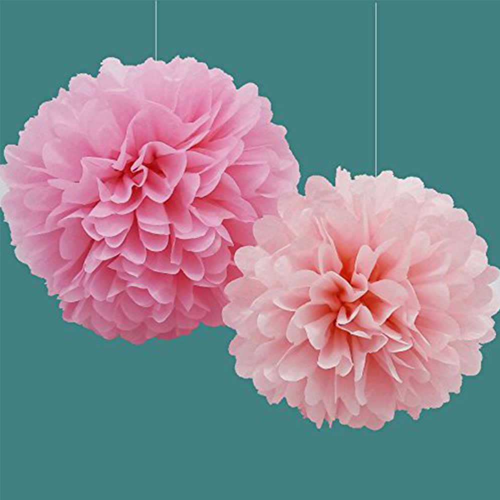 8pc Peach Color Tissue Paper Flowers Paper Pom Poms Balls Lantern