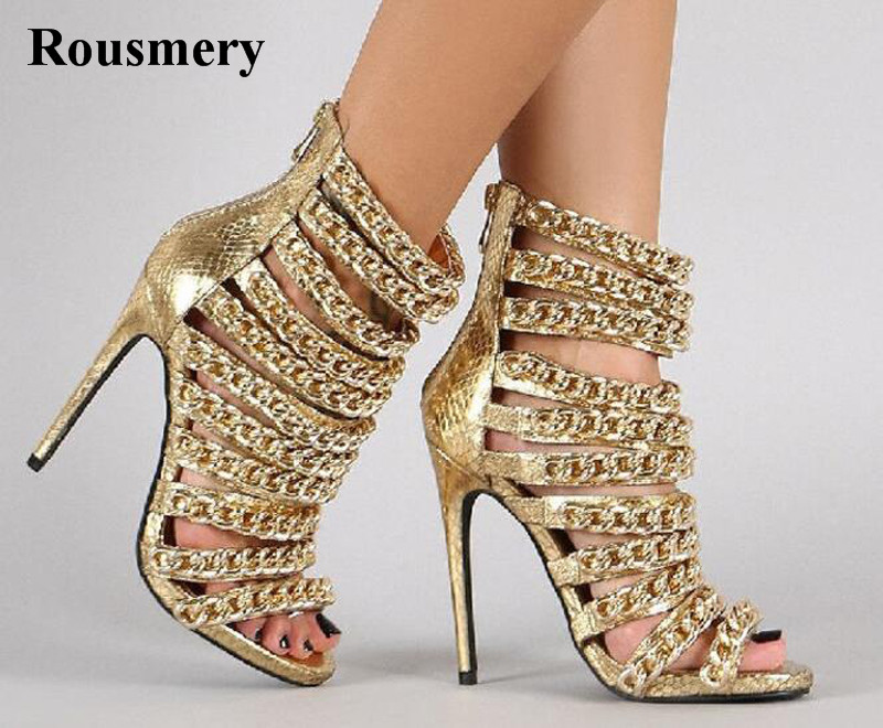 Women Fashion Design Gold Chain High Heel Sandals Zipper-up Open Toe Gladiator Sandals Dress Shoes Evening Pumps new fashion women open toe metal chain strap cross gladiator sandals buckle design super high heel sandals dress shoes