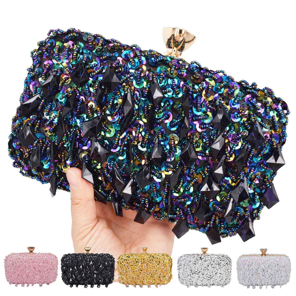 Pink Silver Gold Crystal beaded Clutch Bags Women Party Purse Bridal Handbags Ladies Evening Bags Women Messenger Shoulder Bags(China)
