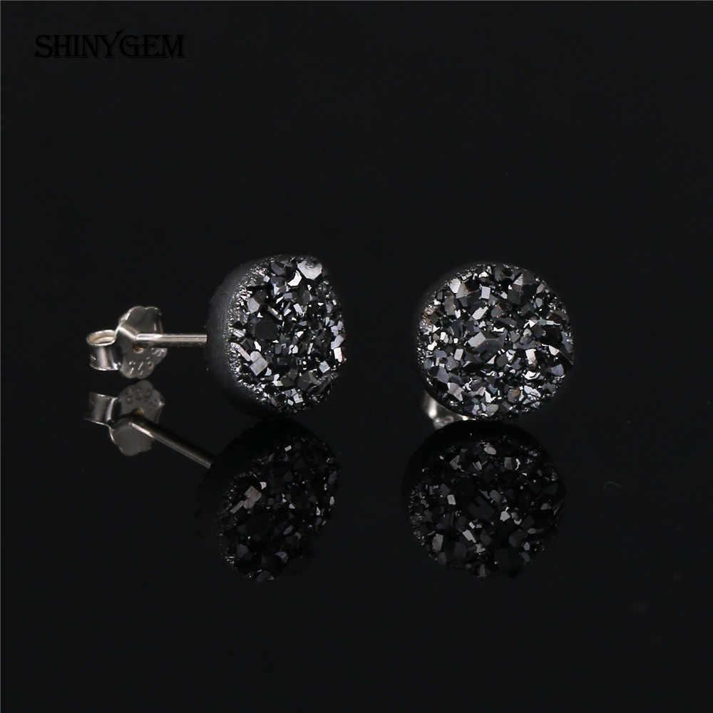 ShinyGem 4-10 มิลลิเมตรรอบ Druzy ต่างหูคริสตัลประกายโอปอลต่างหูหินธรรมชาติ 925 เงินสเตอร์ลิงสตั๊ดต่างหูผู้หญิง