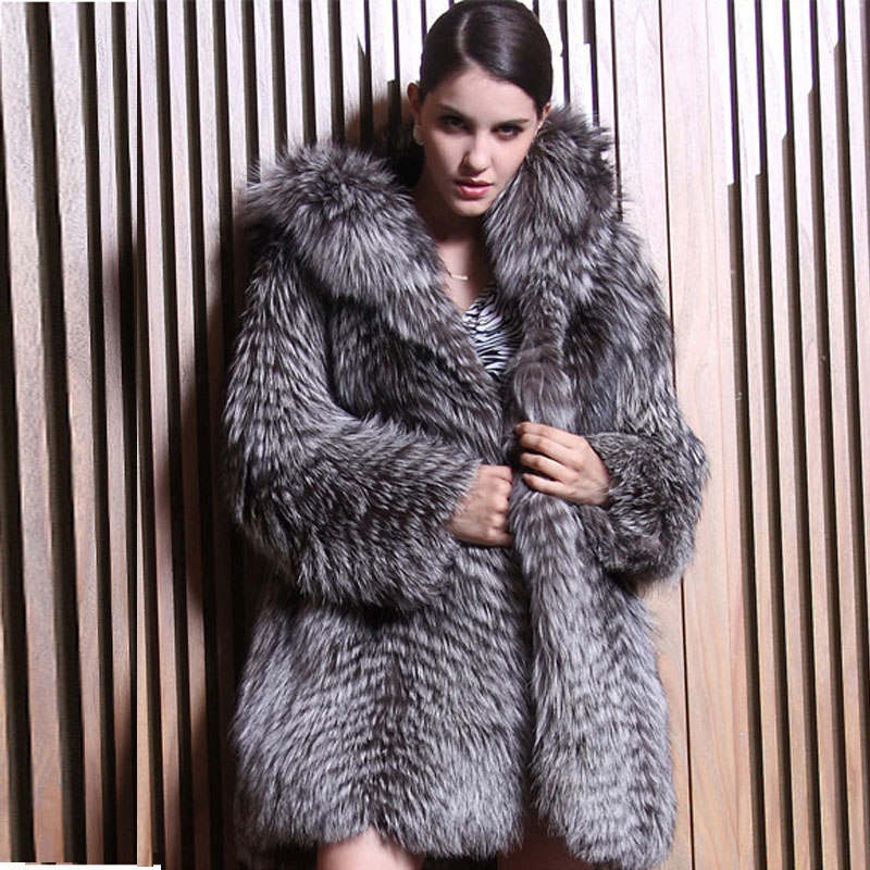 Aliexpress.com : Buy Real Fur Coats For Women Silver Fox Fur Coat ...