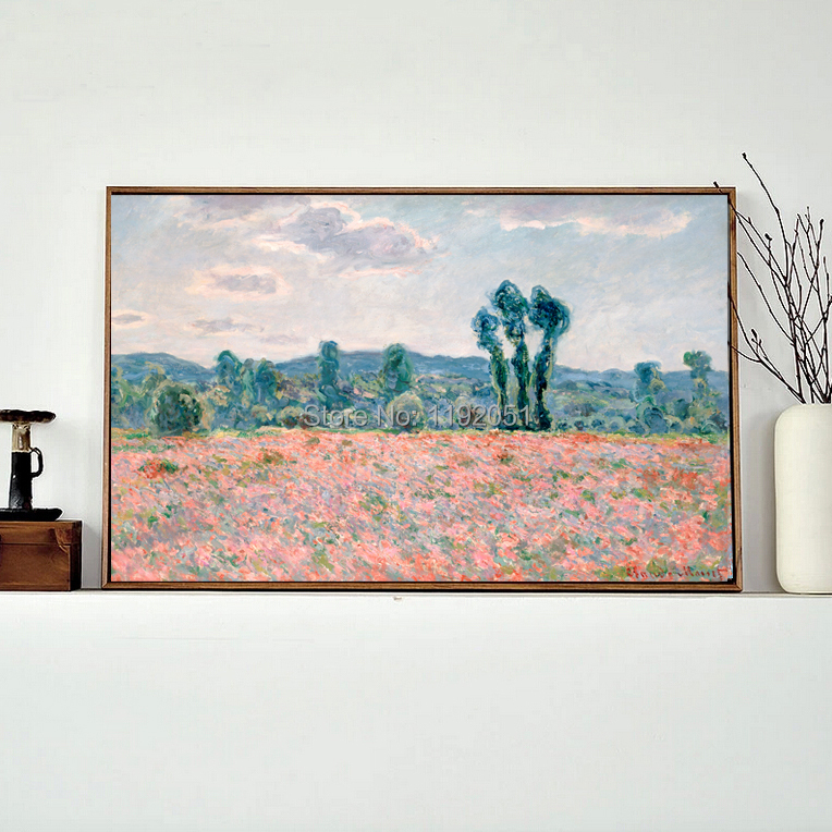 framesless canvas painting landscape paintings masterpiece reproduction Poppy Field c.1886 by Claude Monet