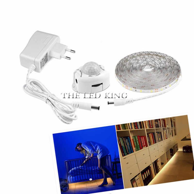 Bezprzewodowy 1 M 10 M taśmy LED PIR czujnik ruchu światła inteligentny włącz wyłącz oświetlenie łóżka elastyczna taśma LED lampa do szafy schody kuchnia