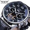 Jaragar бренд мужские часы автоматические механические часы Tourbillon черный Дата часы кожа Бизнес наручные часы Relojes Hombre подарок