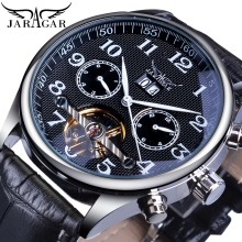 Jaragar Brand Men Watches Automatic Mechanical Watch Tourbillon Black Date Clock Leather Business Wristwatch Relojes Hombre Gift