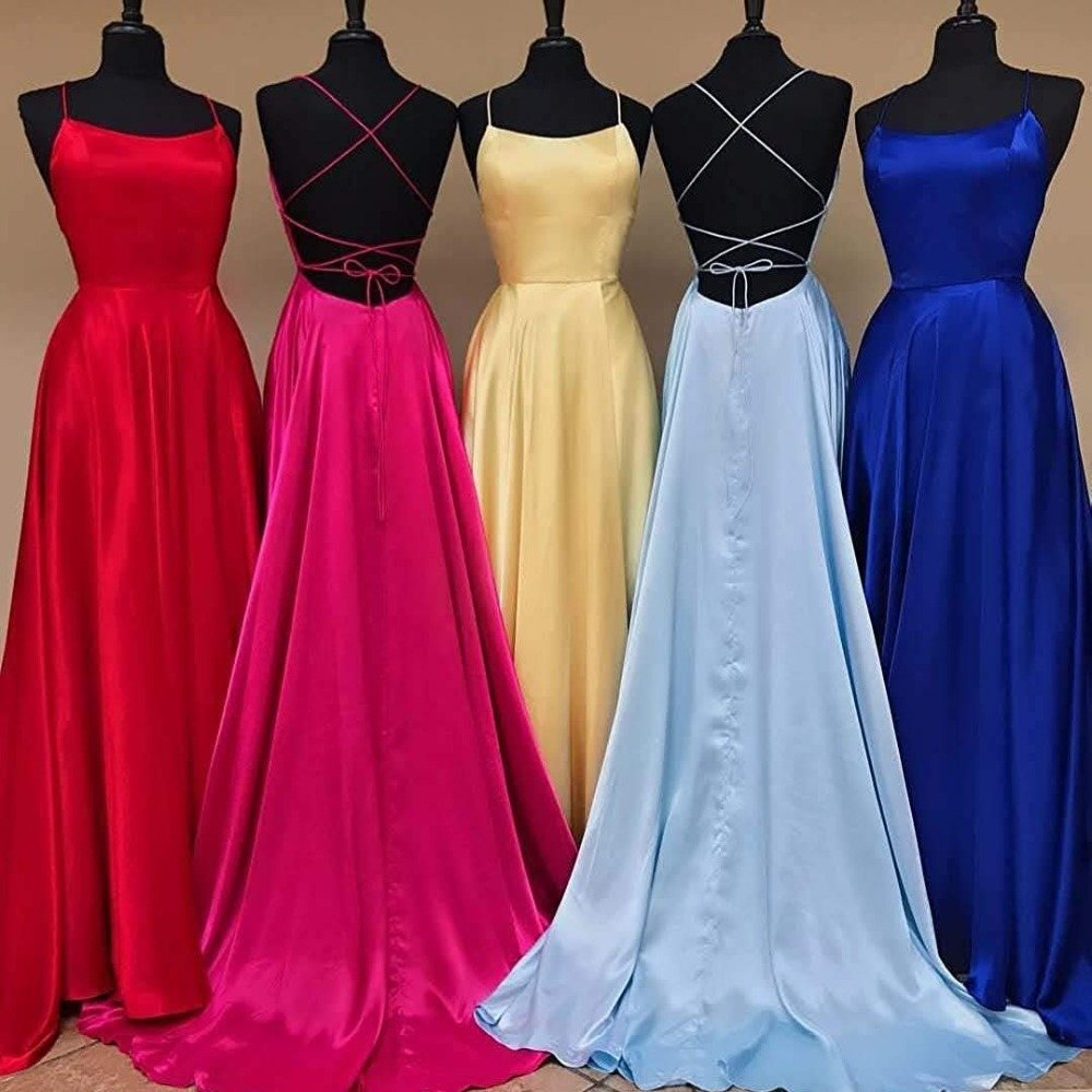 Sexy Criss Cross Back Long Prom Dresses Candy Color Strapless Satin Prom Gowns Spaghetti Strap Slit