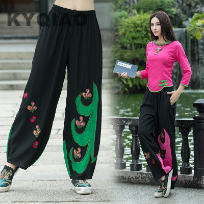 KYQIAO Traditional Chinese clothing 2019 women autumn Mexico style designer original black green rose red pattern   wide     leg     pant