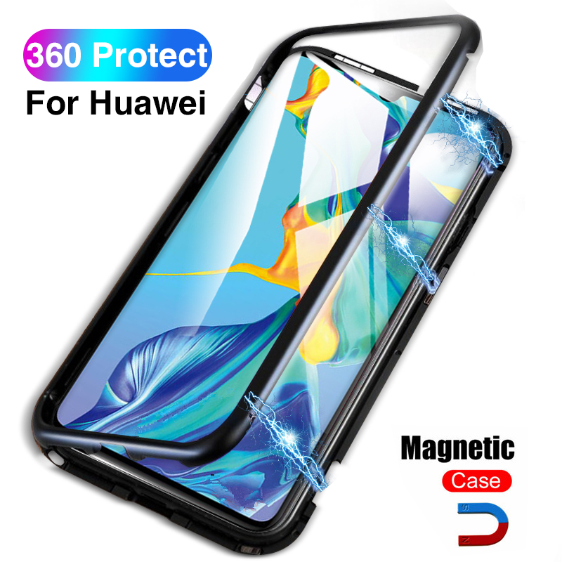<font><b>360</b></font> Magnetic <font><b>Case</b></font> For Huawei P30 Pro P30 Light P 30 Hard Glass Back Covers For Honor 10 Lite Hawei <font><b>P20</b></font> Y9 2019 Mate 20 Pro Coque image