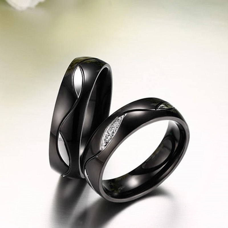 e3c773827e Quality Zirconia Couple Ring for Women Men IP Gold Plating Stainless Steel  Ring Black Titanium Wedding Band Ring Gift for Lover-in Wedding Bands from  ...