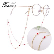 Teamer 78cm Metal Glasses Chain Women Fashion Red Stone Sunglasses Eyeglass Lanyard Hold Straps