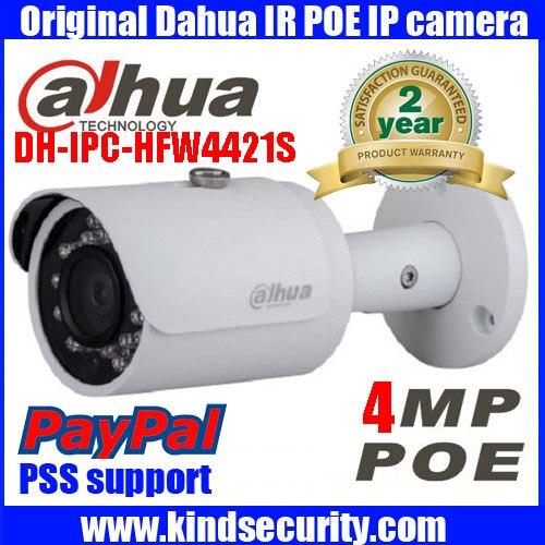 Original Dahua Full HD 4MP POE IP Camera DH IPC HFW4421S CCTV Camera Mini Bullet Outdoor