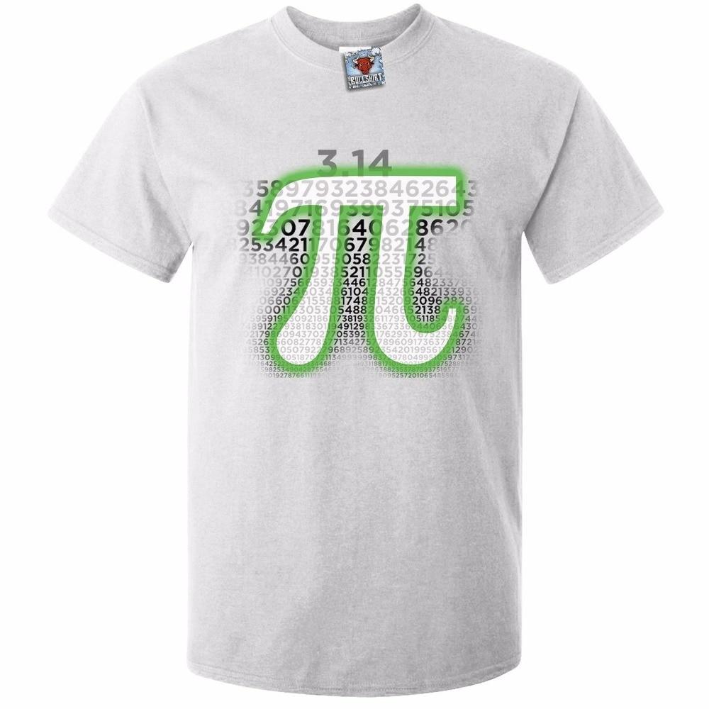 Fashion Cotton T Shirts Fashion 2018 O-Neck Short-Sleeve Mens Glowing Pi T-Shirt T-Shirt Nerd Maths Physics Funny Joke Tees