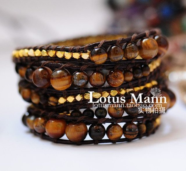 2013 latest 5 wrap bracelet with tiger eyes on brown leather,charm jewelry