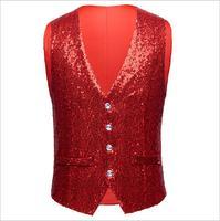 Personality Fashion Men's Sequins Vest Stage Performance Singer Jazz Street Dancer Vest Sequin Vest Suit Vest Slim Shirt