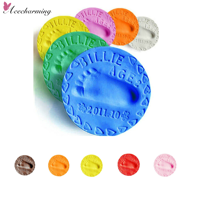 50g Baby Care Air Drying Soft Clay Baby Handprint Footprint Imprint Kit Casting Parent-child hand inkpad fingerprint