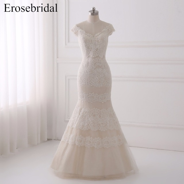 959334bf17340 US $190.4 30% OFF|Beautiful Contrast Color Mermaid Wedding Dresses 2018  Erosebridal Lace Wedding Sweep Train Bridal Gown Vestido De Noiva GLT003-in  ...