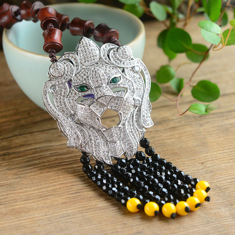 Fine Blood Sandalwood Necklace 925 Silver Lion Head Pendant Lucky for Men Women Hand Made Beads Sweater Chain Necklace Jewelry цены онлайн