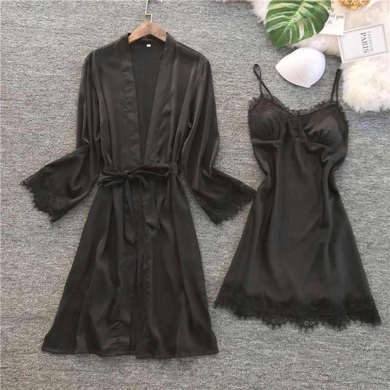 Image 4 - QWEEK Women Silk Robe Gown Set Summer Sexy Lace Women Sleepwear Dress Elegant Woman Pajamas Casual Bathrobe Sets-in Robe & Gown Sets from Underwear & Sleepwears