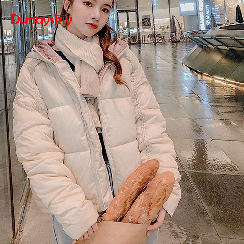 Autumn And Winter New Women Short   Parkas   Paragraph Loose Student Bf Space Cotton Bread Small Cotton Hooded Thicken Warm Coat