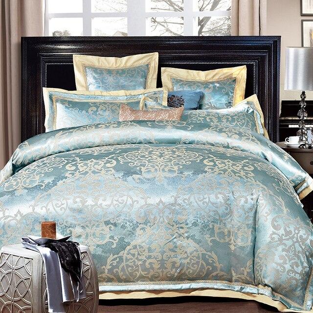 Luxus Jacquard Blau Goldene Bettwäsche Set Königin König Größe Bett