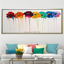 Hand made Flower Knife Pictures modern Home Decor Painted Flowers Oil Painting on Canvas 7 colors Floral Paintings Wall Art