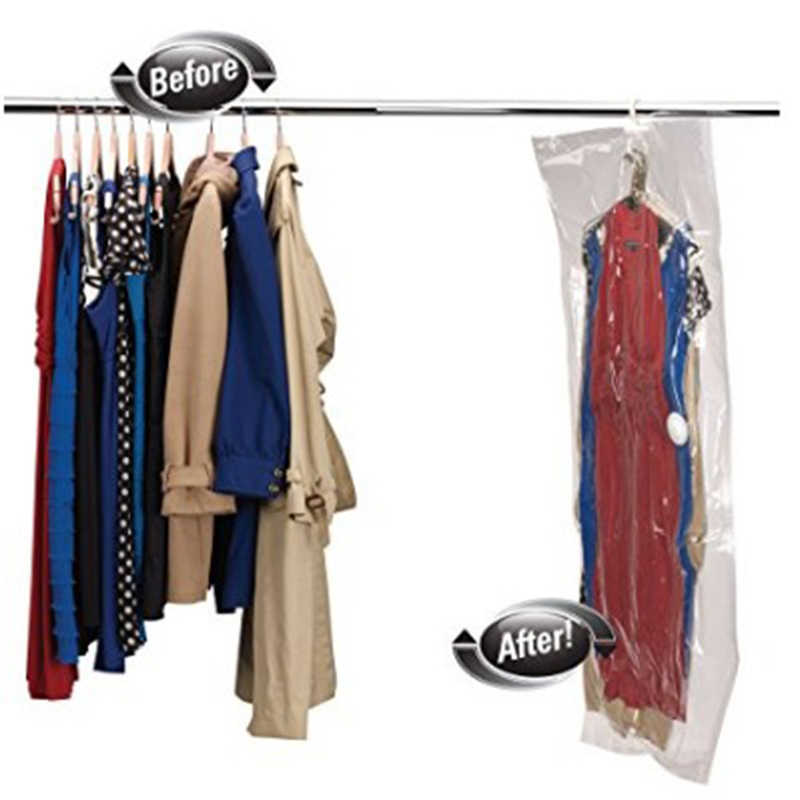 Wardrobe Clothing Storage Bag Transparent Vacuum Dusty Compression Bag With Hook Foldable Hanging Storage Bag QB973470
