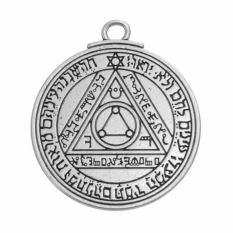 Dawapara pentagram słońca klucz salomona talizman charms zawieszki biżuteria znaczki alfabet przedmioty religijne biżuteria w stylu vintage