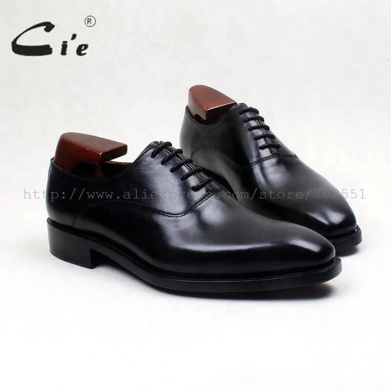 Мужские туфли-оксфорды ручной работы cie, черные туфли из натуральной телячьей кожи с внутренней подошвой на заказ, черные туфли № OX571, бесплатная доставка