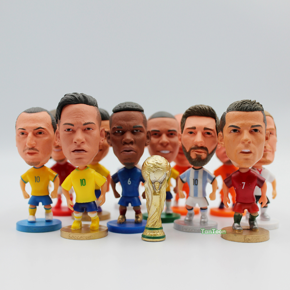 Football 2016 Year National Team Dolls C.Ronaldo Neymar Robben Beckham Player Star 2.5 Inch Figurine Toys