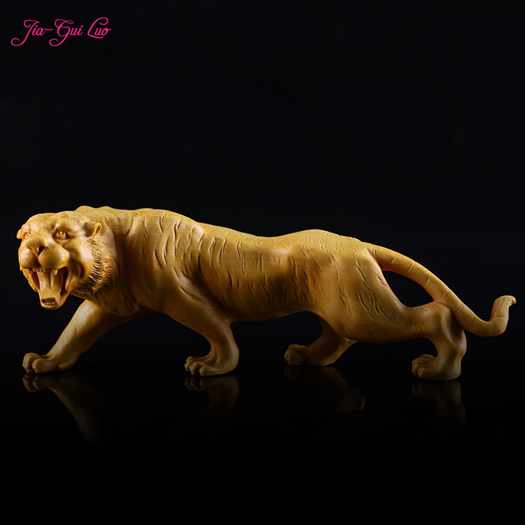 JIA GUI LUO Boxwood carving tiger decoration small sculpture model craft gift home office decoration A041