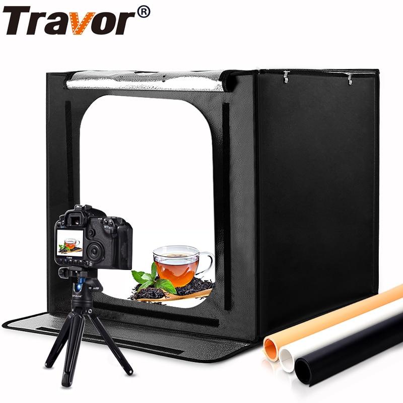 Travor 60*60 cm 24 pouce portable mini photo studio boîte à lumière softbox 46 w 3400LM Blanc Lumière Photo Éclairage studio Tir Tente Boîte Kit