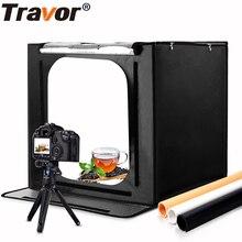 Travor 60*60cm 24 pouces portable mini boîte de studio photo softbox 46W 3400LM lumière blanche éclairage Photo Studio Kit de boîte de tente de tir