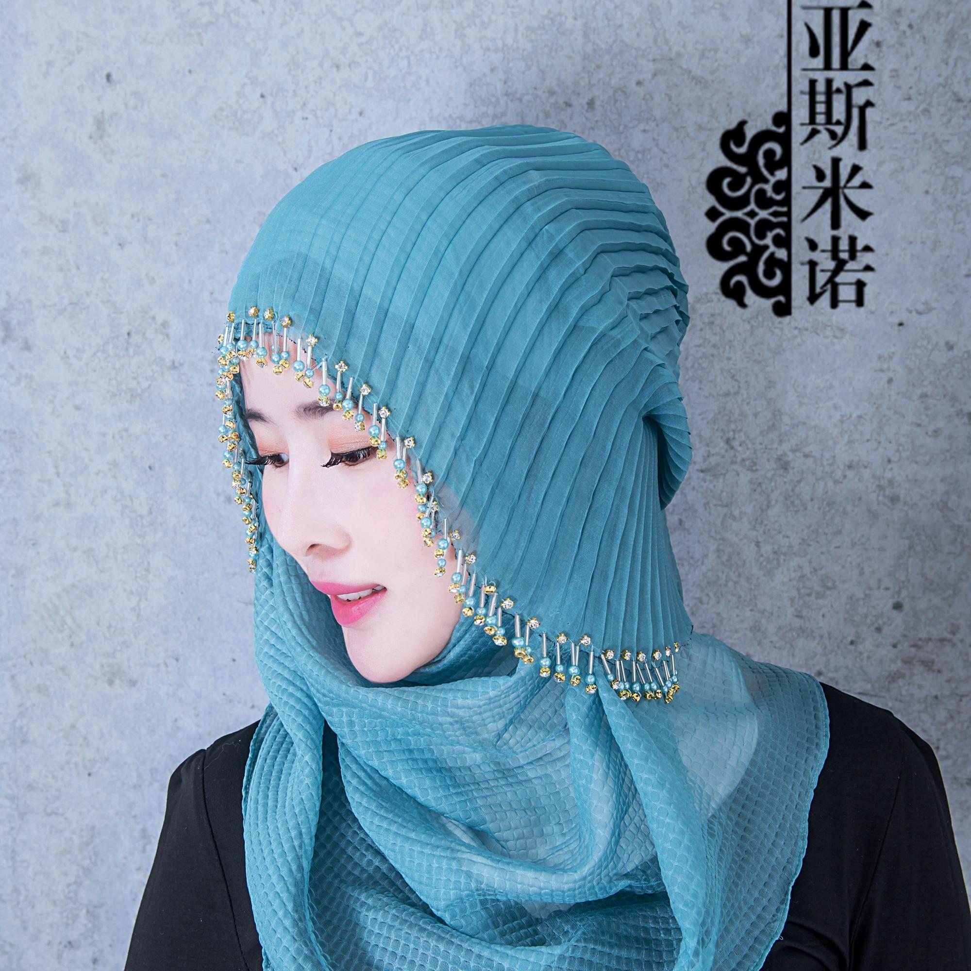 Fashion Design Easy Wear Headscarf Turkish Beading Hijab Istamic Style Full Cover Muslim Hijab For Women YSS1502