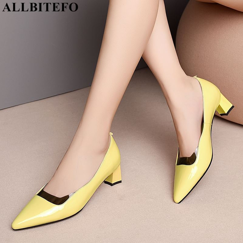 ALLBITEFO full genuine leather pointed toe high heels women shoes high quality women high heel shoes mixed colors ladies shoes|Women's Pumps| |  - title=