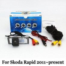 Для Skoda Rapid 2010 ~ Настоящее/RCA Проводной Или Беспроводной/HD Широкоугольный Объектив Ночного Видения Камера Заднего вида/Резервное Копирование камеры