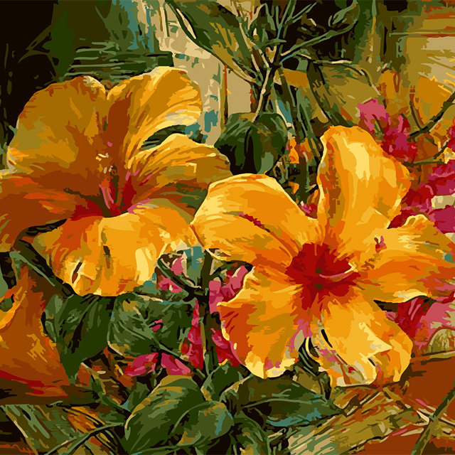 Wall picture five petal yellow flower come into bloom green leaves wall picture five petal yellow flower come into bloom green leaves digital oil painting decor for mightylinksfo