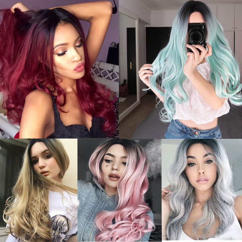 Beauty Gradient color cosplay Hair Wigs Long curly hairs Black to Teal Green Wig for Women with Synthetic Hair wigs Hair Pieces long curly green synthetic lace front cosplay party wig