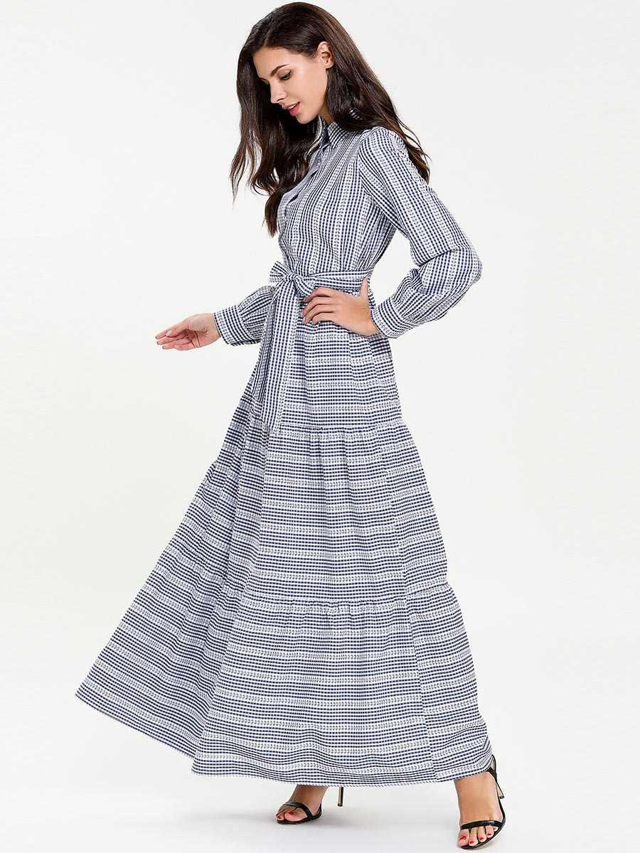 Бандажное мусульманская рубашка платье женское кимоно абайя Турция Дубай плед кафтан турецкий плюс размер Исламская одежда 4XL Bangladesh Robe