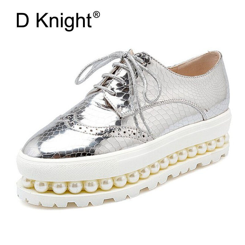Women Oxfords 2017 Patent Leather Creepers Pearls Platform Shoes Woman Flats Casual Women Shoes Plus Size 34-43 Silver Pink A96 fashion patent leather oxfords shoes woman 2016 casual platform flats low heels silver women brogue shoes 2 wearing xwd3170