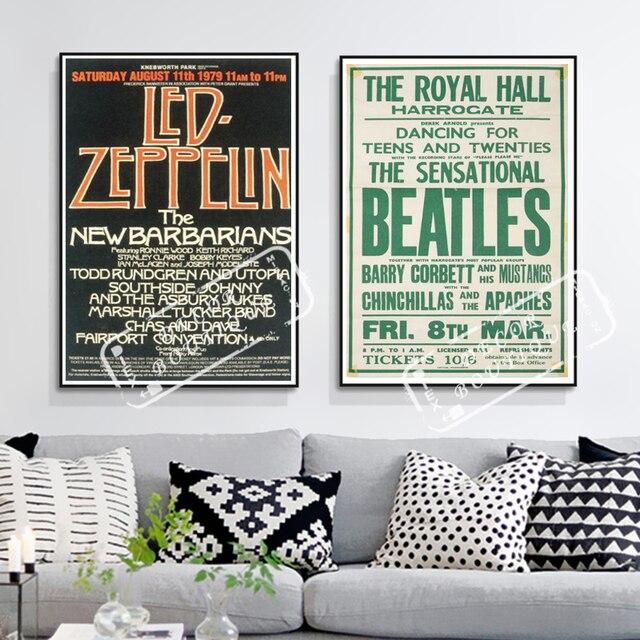 Us 498 Vintage Koncertów Muzyki Plakat Led Zeppelin Koncert Klasyczne Płótnie Obrazy ścienne Plakaty Naklejki Home Decor Prezent W Vintage