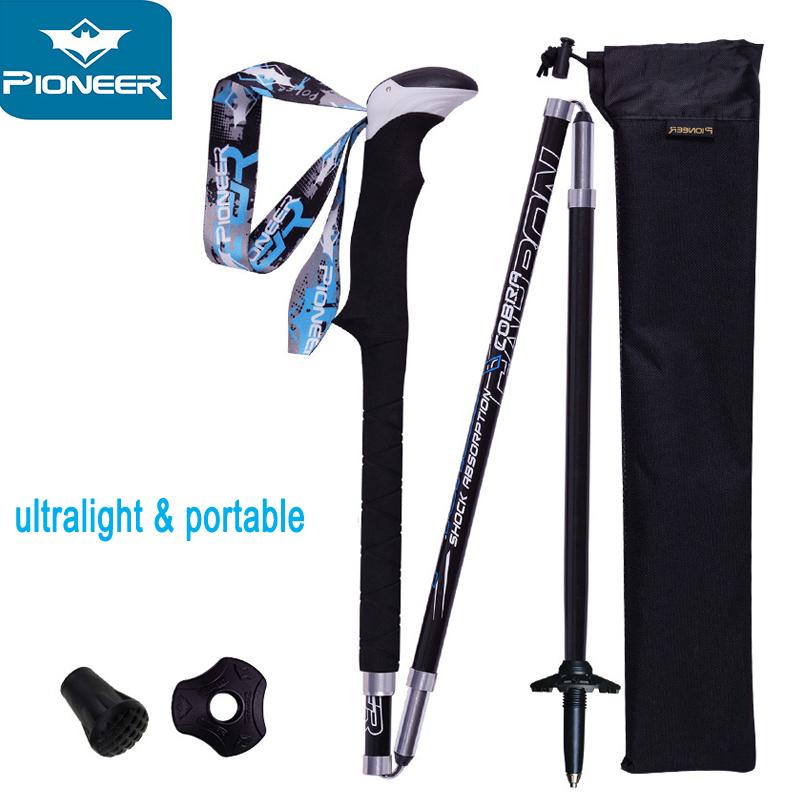 2 PCS Carbon Fiber Folding Ultralight Walking Sticks Lightweight Collapsible Trail Running Hiking Poles Cane